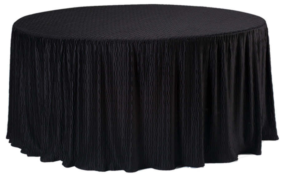 Round table showing full drop tablecloth.