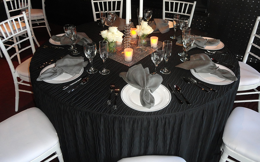 Spruce of you catering events - easy care and elegant styling brought to you by The Folding Table Cloth.