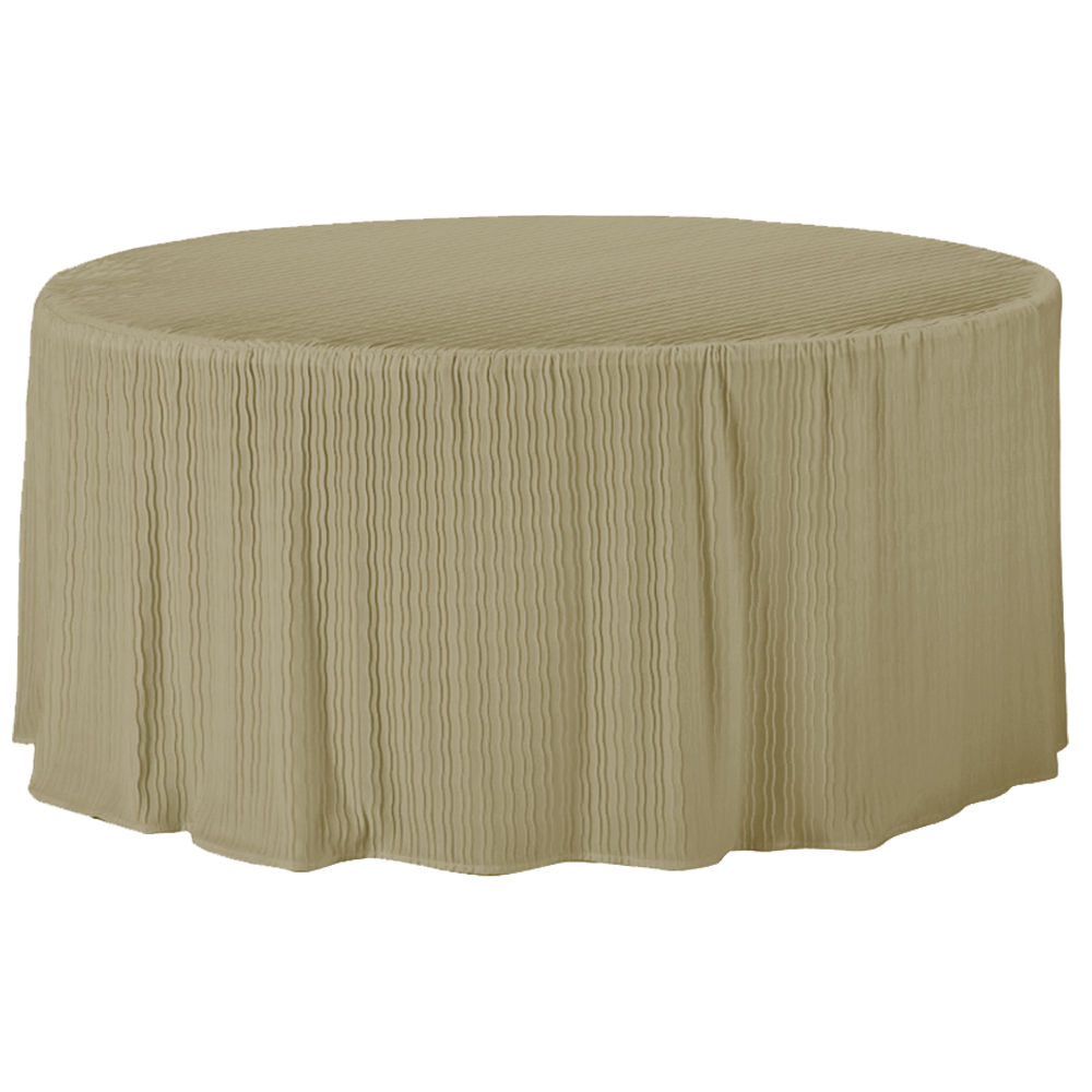 - 60 Inch Round Champagne Table Cloth Made For Round Folding Tables
