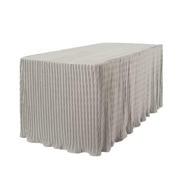 6' silver rectangular folding table cloth